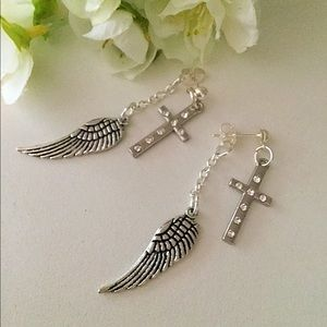 Rhinestone Cross Earrings, Angel Wings Earrings